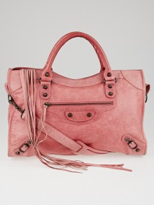 Balenciaga Framboise Lambskin Leather Motorcycle City Bag