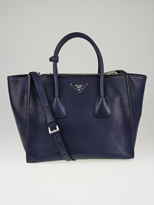 Prada Baltico Glace Calf Leather Twin Pocket Double Handle Tote Bag BN2619