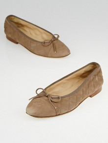Chanel Taupe Quilted Suede CC Cap Toe Ballet Flats Size 5/35.5