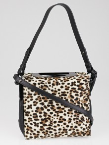 Christian Louboutin Leopard Print Pony Hair and Black Leather Passage Mini Bag