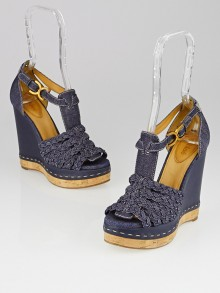 Chloe Blue Denim and Cork Platform Wedges Size 7.5/38