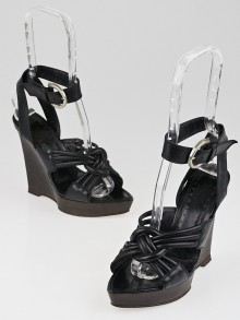 Yves Saint Laurent Black Goatskin Leather Merida 100 Ankle Strap Sandal Wedges Size 4.5/35