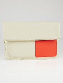 Celine Chalk/Orange Lambskin Leather Fold Over Clutch Bag