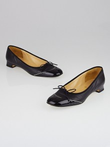 Chanel Black Leather/Patent Leather Cap Toe Ballet Flats Size 7/37.5