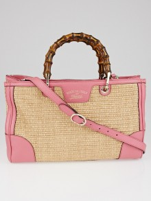 Gucci Natural Woven Straw and Pink Leather Medium Bamboo Shopper Tote Bag