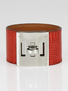 Hermes Sanguine Lizard Palladium Plated Kelly Dog Bracelet
