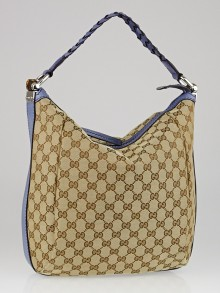 Gucci Beige/Blue GG Canvas Bamboo Bar Hobo Bag