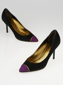Yves Saint Laurent Black and Magenta Suede Cap Toe Opyum 80 Pumps Size 6.5/37