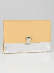 Proenza Schouler Sorbet/Silver Metallic Leather Lunch Clutch Bag