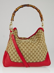Gucci Beige/Red GG Canvas Diana Bamboo Shoulder Bag