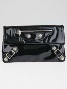 Balenciaga Black Patent Leather Giant 21 Silver Gladiator Envelope Clutch Bag