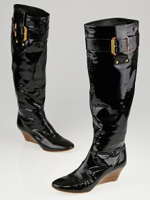 Chloe Black Patent Leather Tall Buckle Wedge Boots Size 5.5/36