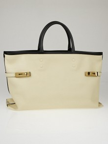 Chloe Husky White/Black Grained Leather Large Charlotte Tote Bag