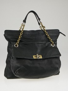 Lanvin Black Pebbled Leather Partage Sac Bag