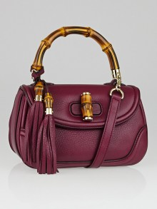 Gucci Dark Red Pebbled Leather New Bamboo Top Handle Bag