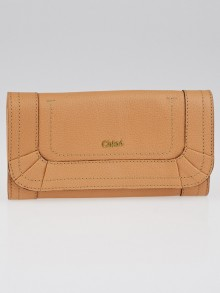 Chloe Light Tan Leather Paraty Flap Wallet