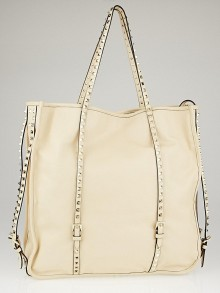 Valentino Beige Nappa Leather Rockstud Large Shopper Tote Bag