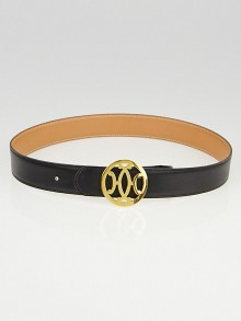 Hermes 32mm Black Box / Gold Courchevel Leather Gold Plated Script Belt Size 70