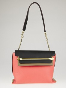 Chloe Star Red Tri-Color Leather Clare Medium Shoulder Bag