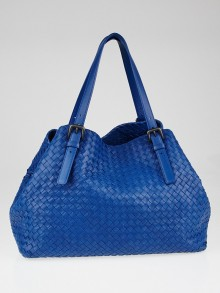 Bottega Veneta Peacock Intrecciato Woven Nappa Leather Large Tote Bag