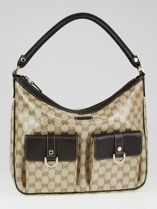 Gucci Beige/Ebony GG Crystal Coated Canvas Abbey Pocket Hobo Bag