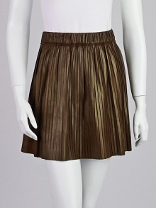 Isabel Marant Brown Pleated Lambskin Leather Carla Mini Skirt Size 6/38