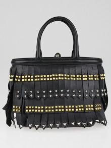 Prada Black Leather Studded Tassel Mini Top Handle Bag B2466B