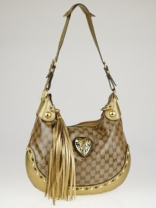 Gucci Beige/Gold GG Crystal Canvas Babouska Crest Hobo Bag