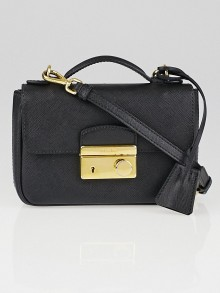 Prada Black Saffiano Lux Leather Mini Crossbody Bag BT0963