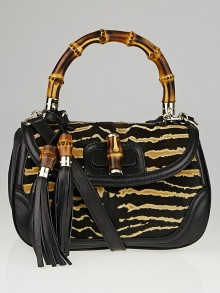 Gucci Black/Brown Tiger Print Pony Hair New Bamboo Top Handle Satchel Bag