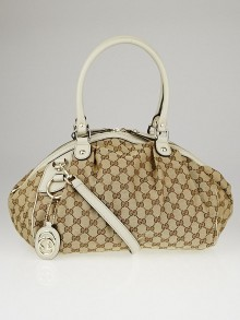 Gucci Beige/White GG Canvas Medium Sukey Boston Bag