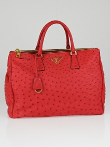 Prada Fuoco Ostrich Double Zip Large Tote Bag BN1786