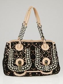 Fendi Limited Edition Black Embellished Lace and Embroidered B Bag