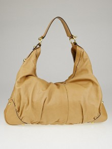 Gucci Beige Leather Large Jockey Hobo Bag