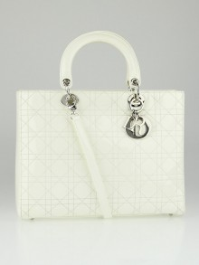 Christian Dior White Cannage Quilted Patent Leather Large Lady Dior Tote Bag
