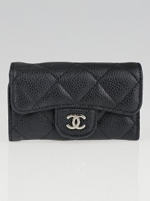 Chanel Black Quilted Caviar Leather Multicles 6 Key Holder
