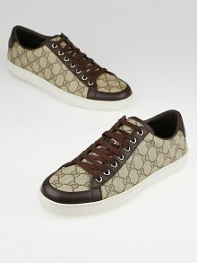 Gucci Beige/Ebony GG Supreme Canvas and Leather Lace-Up Sneakers Size 10