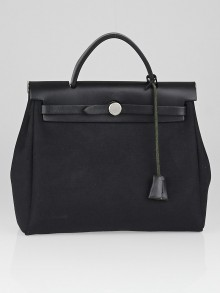 Hermes 30cm Black Canvas and Vache Calfskin Leather Herbag PM Bag w/o Strap