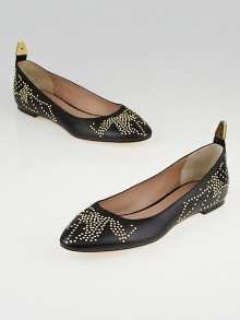Chloe Black Leather Anatolia Studded Ballet Flats Size 5.5/36