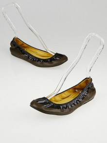 Lanvin Brown Leather and Black Patent Leather Ballet Flats Size 7.5/38