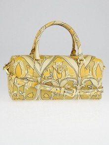 Prada Beige/Orange Saffiano Floral Print Leather Bauletto Bag