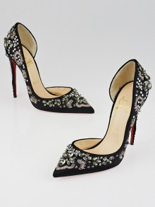 Christian Louboutin Black Satin Brode/Strass Artifice 120 Pumps Size 6.5/37