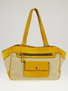 Prada Beige Canvas and Yellow Textured Suede Small Tote Bag