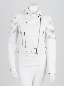 Burberry White Studded Calf Leather Valletort Jacket Size 6