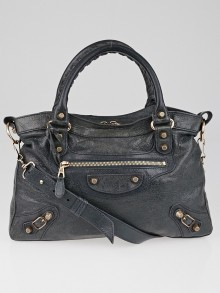 Balenciaga Anthracite Lambskin Leather Giant 12 Rose Gold Motorcycle Town Bag