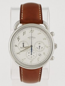 Hermes 43mm Stainless Steel and Natural Barenia Leather Arceau TGM Automatic Chronograph Watch