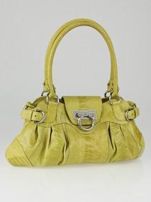 Salvatore Ferragamo Lime Green Ostrich Leg Leather Marisa Shoulder Bag