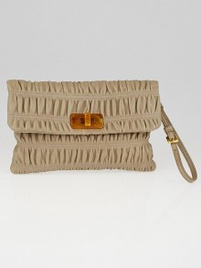 Prada Beige Nappa Leather Gaufre Wristlet Clutch Bag