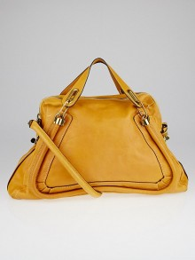 Chloe Gold Calfskin Leather Large Paraty Bag