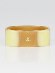 Chanel Beige Resin CC Bangle Bracelet